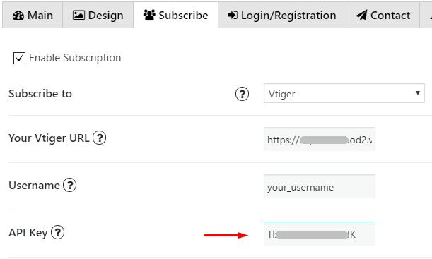 Insert Vtiger API Key