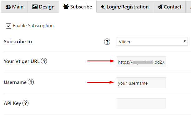 Insert URL and your Username in Vtiger