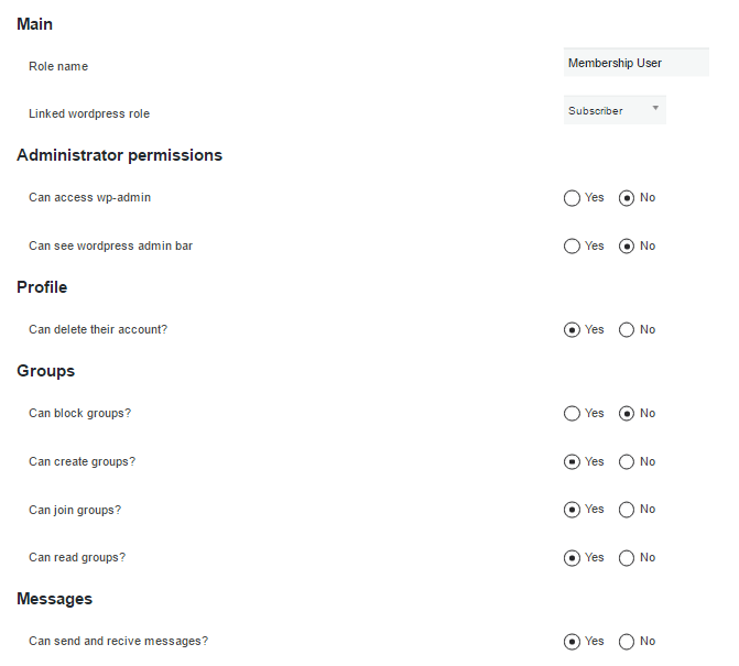 Membership Role Settings