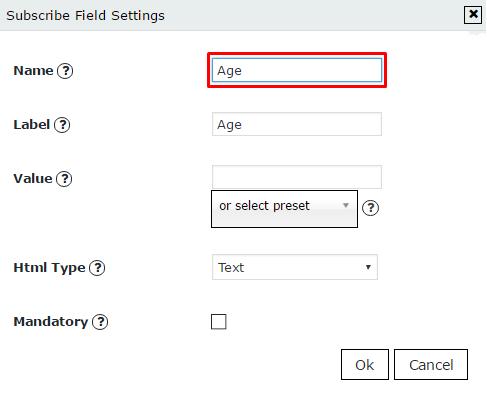 Add field name of new custom field