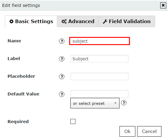 Field settings in WordPress Contact form