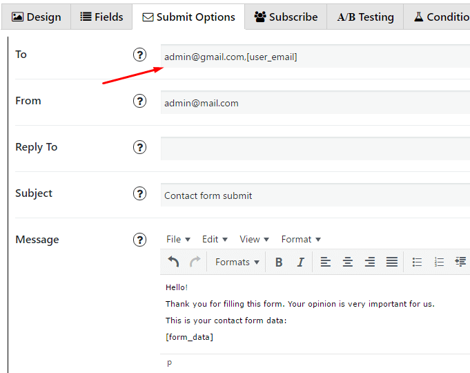 User email in contact form plugin
