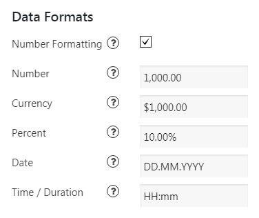 Formats Settings in WordPress Data Tables