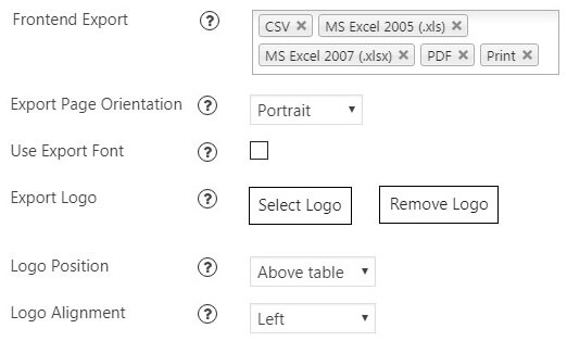 Data Tables Frontend Export Options