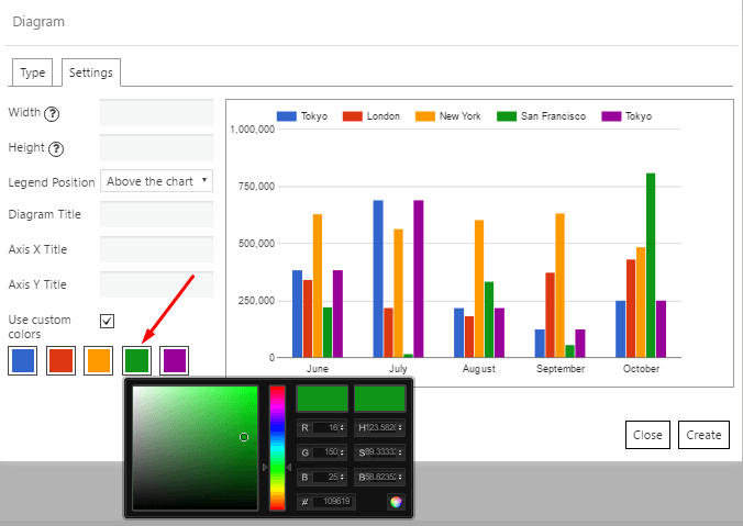 Data Tables Diagram use custom colors