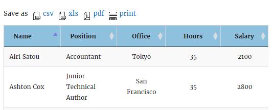 Data Tables plugin Frontend export