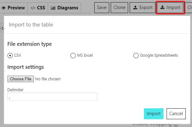 Data Tables Generator Import option
