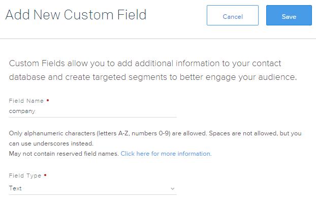 SendGrid add new custom field
