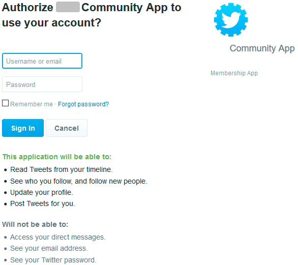 Authorize Membership Access to Twitter Account