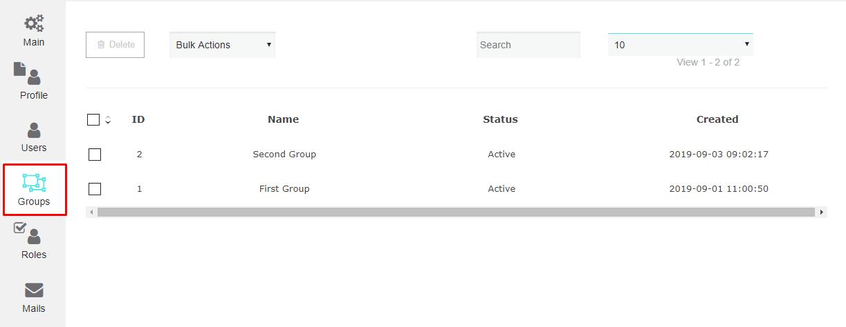 Groups settings