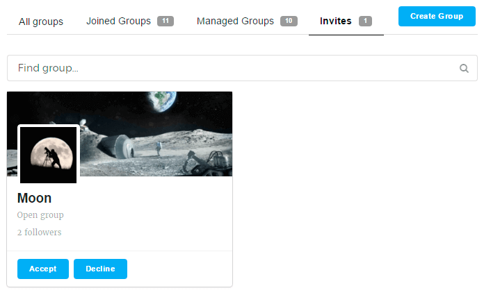 Invites tab of Groups page