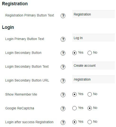 Registration section of Membership design settings