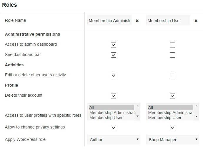 Membership Roles Settings