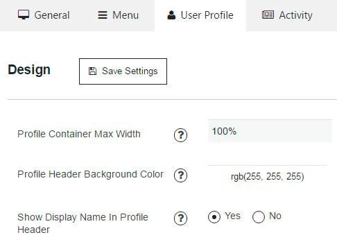 user profile section of membership design settings