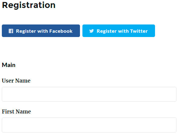 Social Login Registration