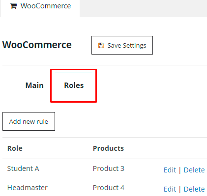 Woo Commerce Roles Tab