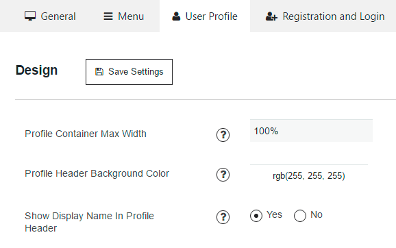 user profile section of membership design settings