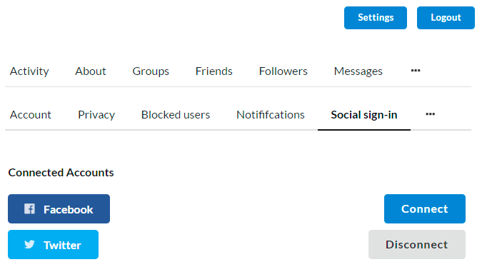 Social Login Membership Settings Front-end