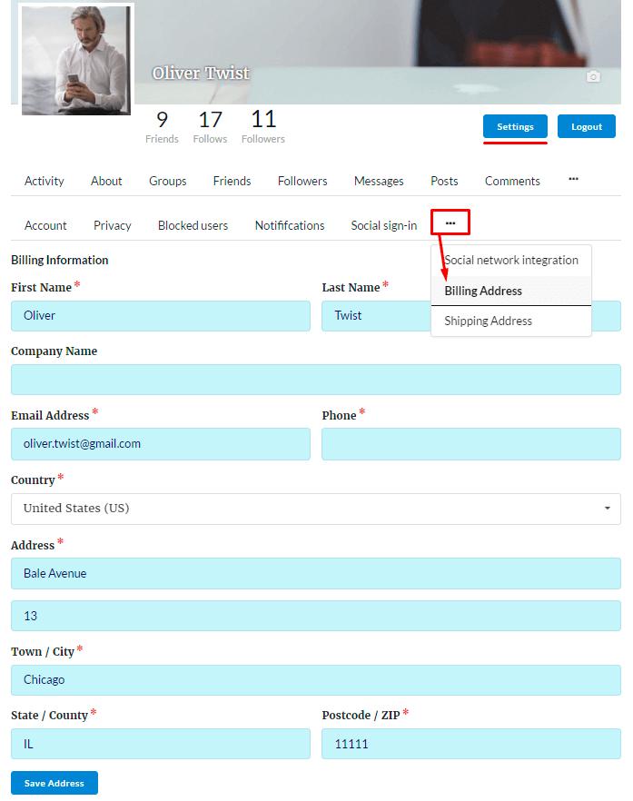 User Billing Information