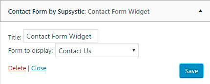Contact Form Widget settings