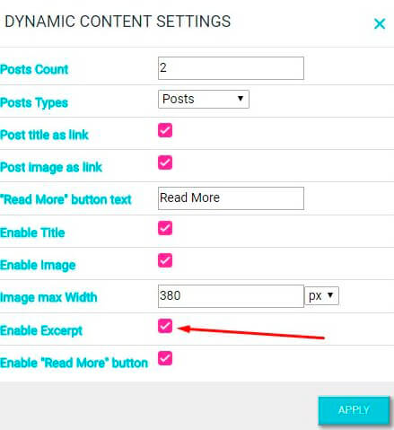 Dynamic content settings