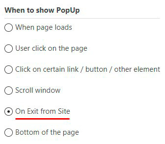 On Exit from Site Popup option