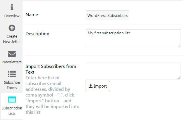 Subscription list Settings