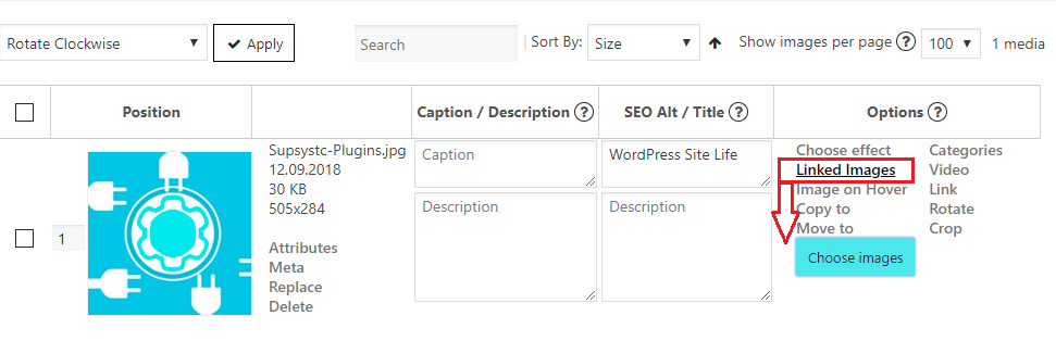 Linked images tab