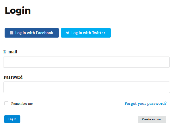 Login Page with Social Login Extension