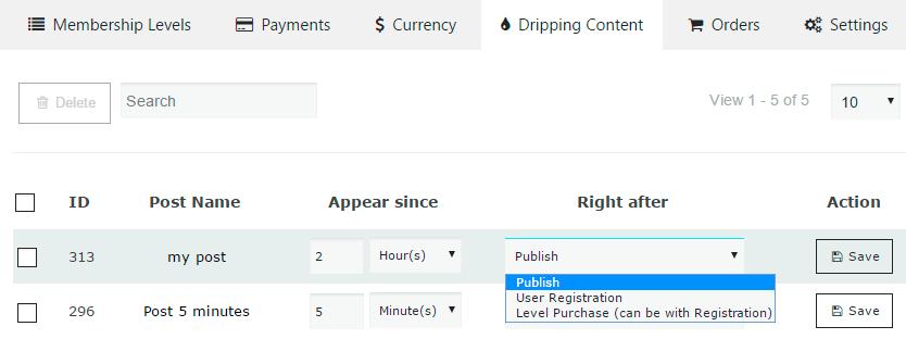 Membership Dripping Content Settings