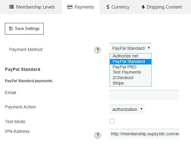 Membership Ecommerce Payments Settings