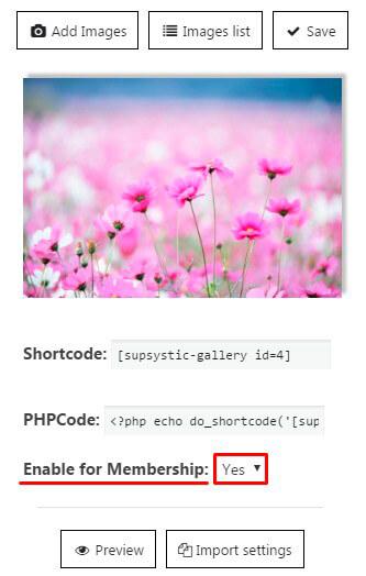 Membership-Gallery-settings