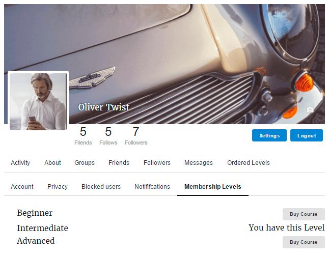 Membership Levels in User Profile Settings
