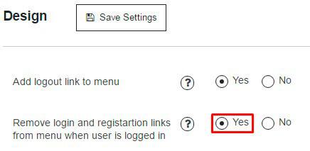 Membership plugin Remove login and registration links