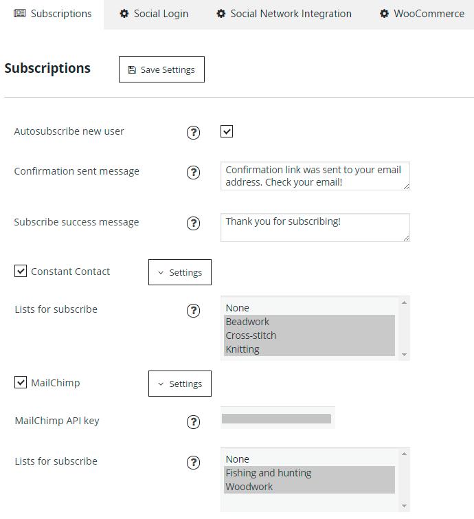 Subscriptions Admin Settings
