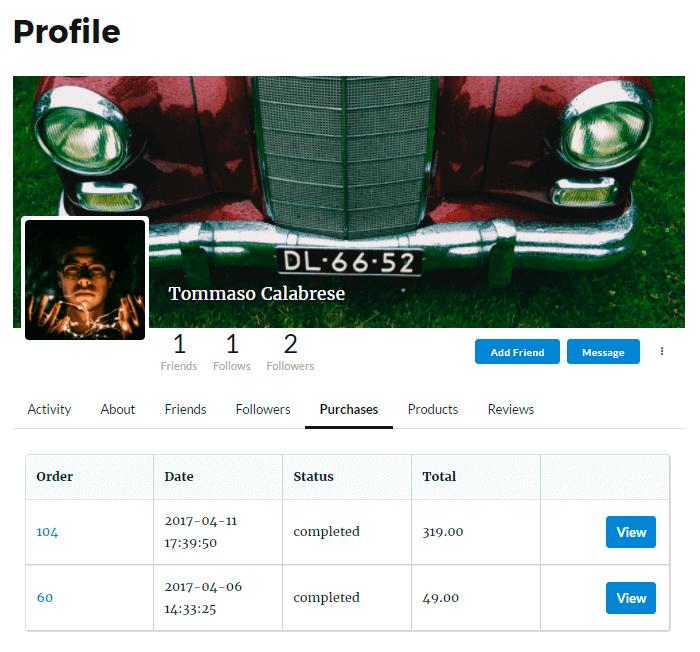 WooWooCommerce Purchases Tab in Membership User ProfileCommerce Purchases in Membership User Profile