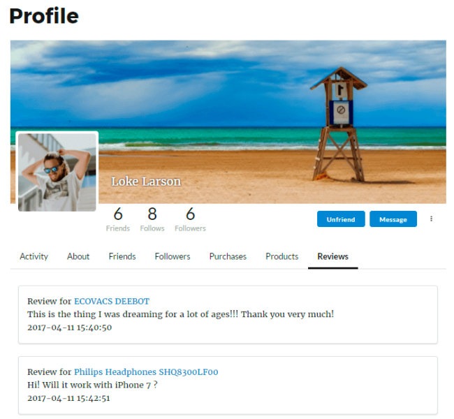 WooCommerce Reviews in Membership User Profile
