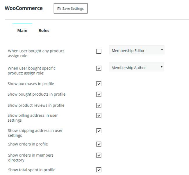 WooCommerce Extension Main Settings
