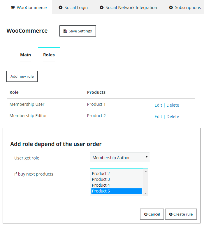 Woocommerce Extension Roles Tab
