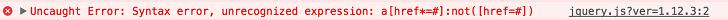Incorrect selector error