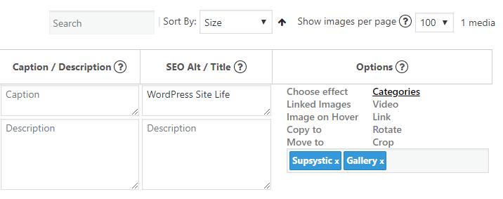 Categories tab Photo Gallery