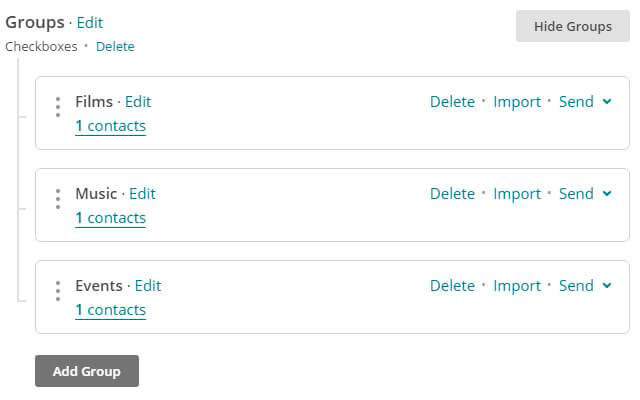 MailChimp Groups settings