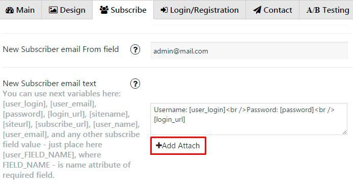 Popup plugin-Add Attach button