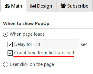 Popup Count time from first site load option