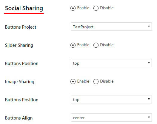 Slider Social Sharing option