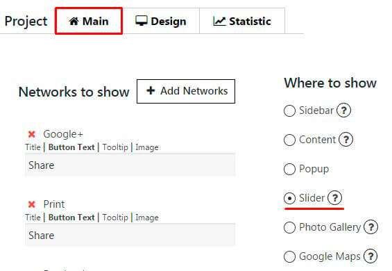 Social Share plugin-activating Slider feature