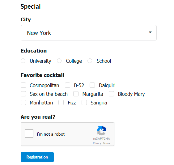 Special Registration Fields