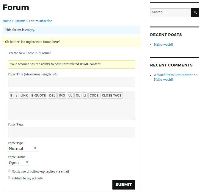 bbPress Forum on Website Frontend
