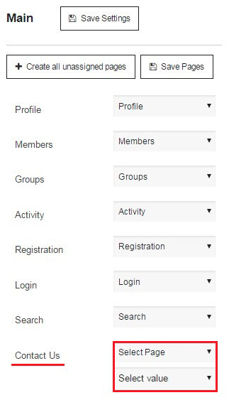 Membership-Contact Form settings