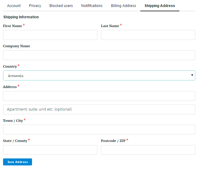 Shipping address in membership user profile